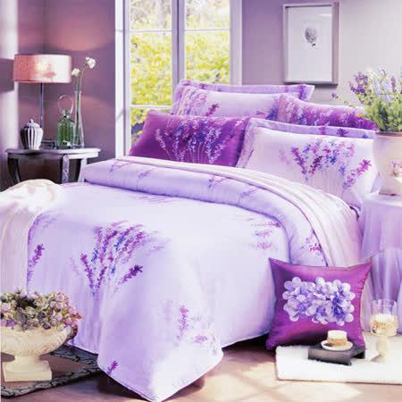 《KOSNEY 浪漫紫戀 》特大100%天絲TENCEL八件式兩用被床罩組