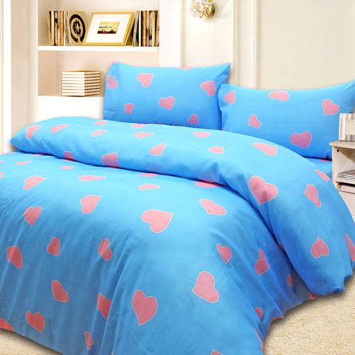 ~心心相印藍~雙人六件式舖棉兩用被床罩組~