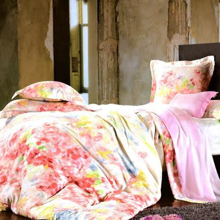 《KOSNEY 美麗花園》加大100%天絲TENCEL四件式兩用被床包組