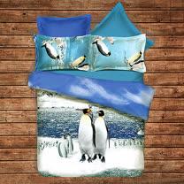 《KOSNEY 親子企鵝》頂級雙人天絲絨四件式床包被套組