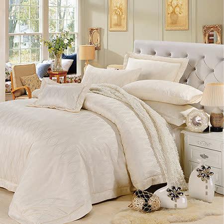 《KOSNEY 典雅浪漫》雙人60支活性精梳棉蕾絲緹花八件式床罩組送對枕