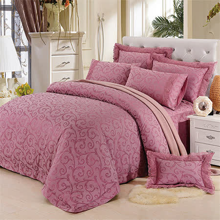 《KOSNEY 浪漫美景》特大60支活性精梳棉蕾絲緹花八件式床罩組送對枕