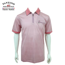【FANTINO】男裝 嚴選80支雙絲光橫條紋polo棉衫 (粉) 331335