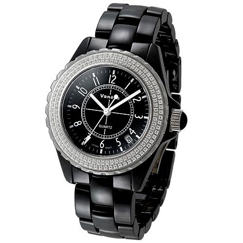 Vaness 低調奢華晶鑽陶瓷錶(黑-大)