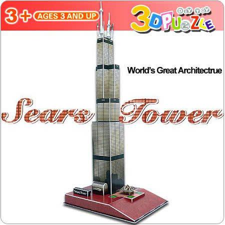 【生活百貨任選】3D立體拼圖之世界好好玩-美國芝加哥希爾斯大廈