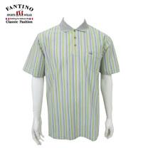 【FANTINO】男款 春夏彩條醒目polo棉衫(綠.紫)431103.431104