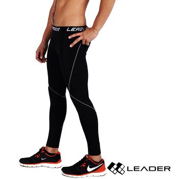 【LEADER】X-PRO梯度壓縮運動緊身褲 (黑底灰線)
