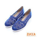 ZUCCA【Z-5701BE】透膚感雕花編織拼接平底包鞋-藍色
