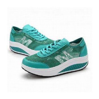 預購-韓國KW. Y717-4萊卡網布透氣防滑健走鞋 (藍綠)