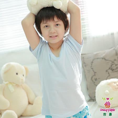 【Anny pepe】男童水色短袖內衣(精梳美國棉)