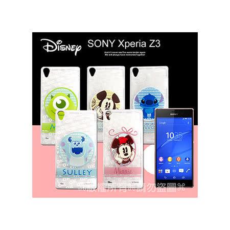 迪士尼授權正版 SONY Xperia Z3 D6653 徽章系列透明彩繪軟式保護殼 手機殼