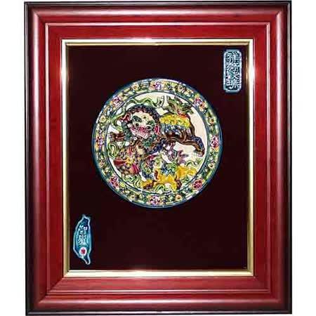 鹿港窯-交趾陶裝飾壁畫-雙獅戲球(M)