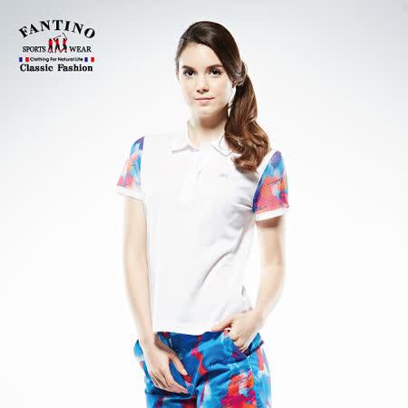 【FANTINO】女款 袖口拼接渲染網布80支雙絲光棉衫 571207