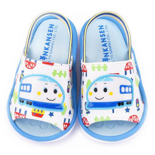 童鞋城堡-新幹線 小童 嗶嗶後帶拖鞋815702-白