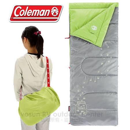 【美國 Coleman】Dark Kids' Sleeping Bag C7 夜光型兒童睡袋/7度C.信封型睡袋/可機洗.附收納袋.可當棉被.睡墊 /CM-22259 萊姆綠