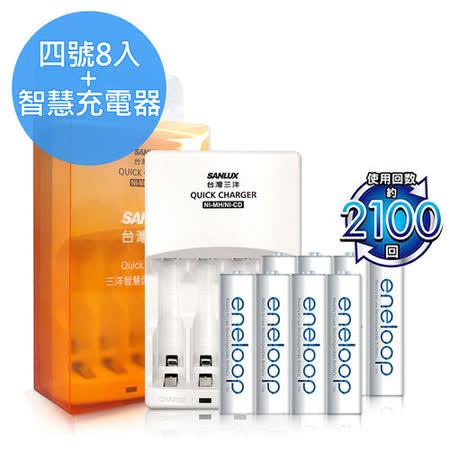 三洋智慧型充電器 + Panasonic eneloop 低自放4號充電電池(8顆入)
