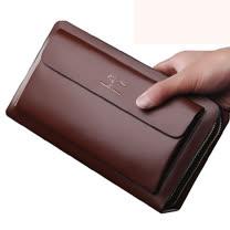 PUSH! 男士長夾頭層牛皮手拎包商務包隨身包(可放7吋平板) 539