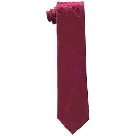 【Calvin Klein】2015男時尚酒紅色條紋真絲領帶【預購】