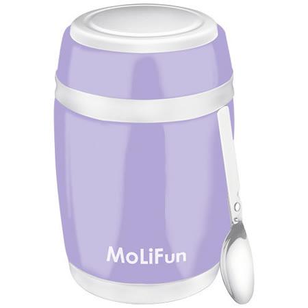 MoliFun魔力坊 不鏽鋼真空保鮮保溫燜燒食物罐480ml-微薰紫