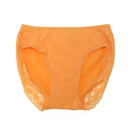 【pierre cardin】花漾蕾絲 高叉低腰三角褲(橘)