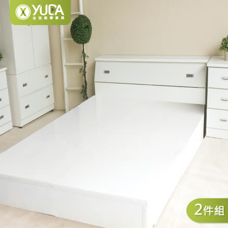 「全面升級半封床底」5尺純白雙人(床頭箱+床底)2件組 床架組/ 床底組/床組【YUDA】