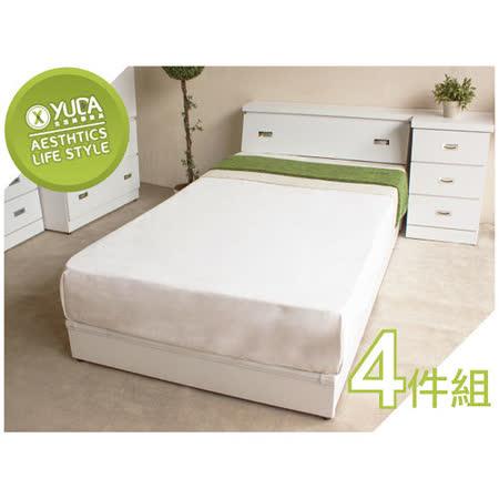 「全面升級半封床底」限時特賣 3.5尺純白單人(床頭箱+床底+床頭櫃+衣櫃)4件組 床架組/ 床底組/床組【YUDA】