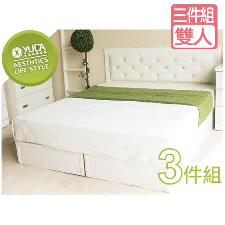 【YUDA】 5尺 黛曼特 純白雙人 (床頭板/床頭片+床底+床頭櫃)3件組 床架組/床底組/床組
