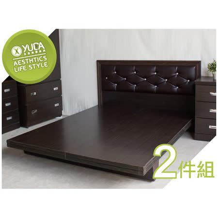 【YUDA】限時特賣 5尺黛曼特 水鑽石雙人床組 (床頭板/床頭片+木屐床底)2件組 床架組/床底組/床組