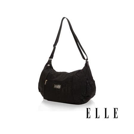 ELLE 優雅淑女皺褶包 大空間 托特側背包款 LOGO防潑水設計款-黑EL82345-02