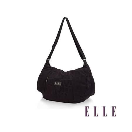 ELLE 優雅淑女皺褶包 大空間 托特側背包款 LOGO防潑水設計款-紫EL82345-24