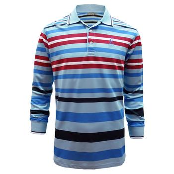 【hilltop山頂鳥】男款吸濕快乾長袖POLO衫S15M20-淺藍/深紅