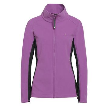 【hilltop山頂鳥】女款WINDSTOPPER抗風刷毛外套H22FQ3-亮紫紅/黑