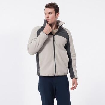 【hilltop山頂鳥】男款WINDSTOPPER抗風刷毛外套-淺卡/深灰