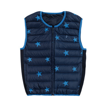 【hilltop山頂鳥】童款雙面穿蓄熱羽絨內背心F25CE8-深藍/丈青