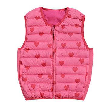 【hilltop山頂鳥】童款雙面穿蓄熱羽絨內背心F25CE9-茶花粉/莓粉