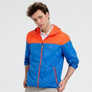 【hilltop山頂鳥】男款超撥水抗UV外套S02M66-寶藍/亮橘
