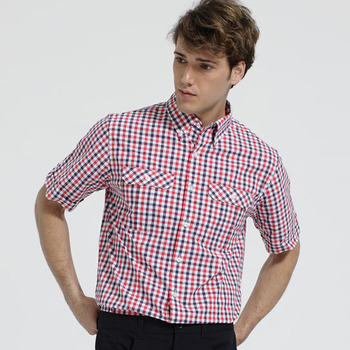 【hilltop山頂鳥】男款SUPPLEX 吸濕快乾短袖襯衫S06M52-紅/深藍格子