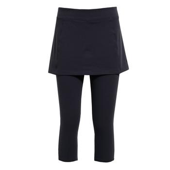 【hilltop山頂鳥】女款抗UV吸濕快乾彈性針織七分褲裙S07FB9-深灰