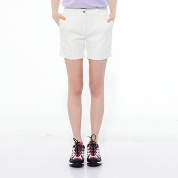 【hilltop山頂鳥】女款抗UV吸濕快乾彈性短褲S09F55-米白