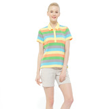 【hilltop山頂鳥】女款吸濕快乾彈性短袖POLO衫S14FB3-柔黃/草綠條紋
