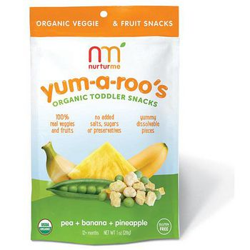 美國 Nurturme 小袋鼠有機綜合蔬果小點心 有機豌豆,香蕉,鳳梨 28g/包