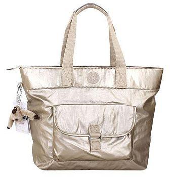 Kipling 前口袋PVC手提/肩背包(金/毛絨猩猩吊飾) _301022-55