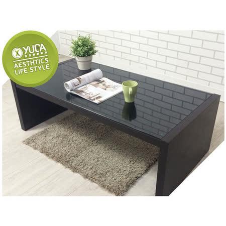 【YUDA】日式『燻黑6mm強化玻璃』木頭 大茶几/咖啡桌/長桌(需DIY組裝)