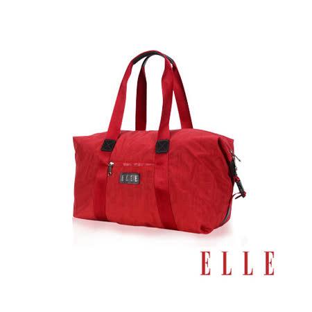 ELLE 優雅淑女皺褶包 旅行包大空間設計款 LOGO防潑水設計款-紅EL82346-01