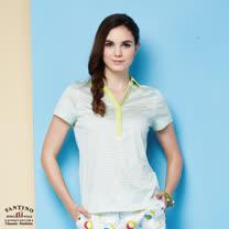 【FANTINO】女裝 夏日清新感80支雙絲光棉polo衫 (粉綠、紅) 571101-571102