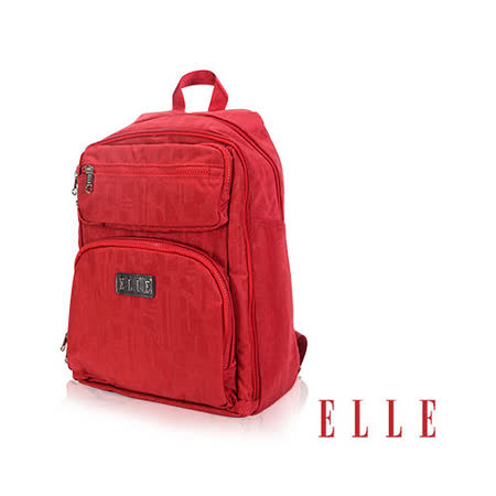 ELLE 優雅淑女皺褶包 機能後背包14吋筆電扣層設計款 LOGO防潑水設計款-紅EL83830-01
