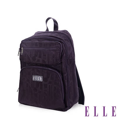 ELLE 優雅淑女皺褶包 機能後背包14吋筆電扣層設計款 LOGO防潑水設計款-紫EL83830-24