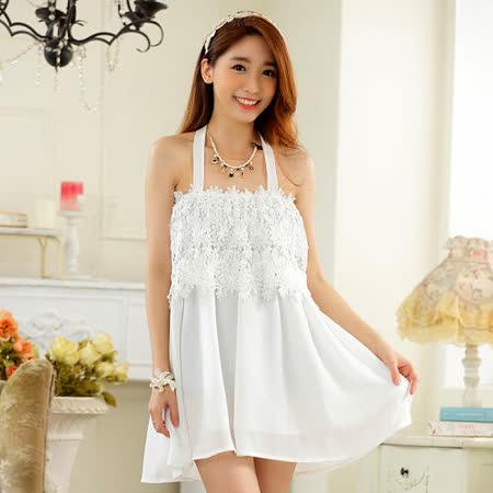 【白色戀人中大尺碼】白色緹花蕾絲平口綁脖洋裝