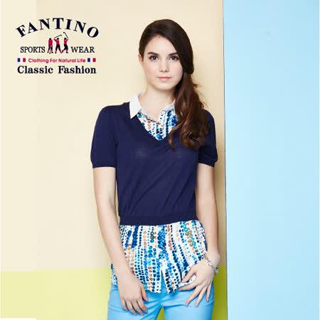 【FANTINO】女款假兩件式渲染點點襯衫 577110