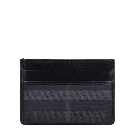 BURBERRY 經典格紋牛皮滾邊卡片夾(黑)